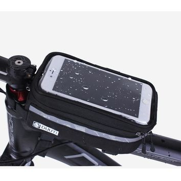 Outdoor Cycling Mountain Road Bike Bag Bicycle Frame Tube Panniers Waterproof Touchscreen Phone Case Reflective Bag Basket