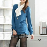 Casual Style Hemming Sleeves Ladies Blouses Black