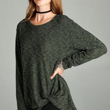 Twon Toned Brushed Sweater Top