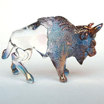 Bison Buffalo Figurine Hand Blown Glass Gold Sculpture