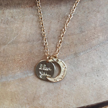 I Love You to The Moon And Back Charm Necklace, Gold Stamped Necklace, Mother Necklace, Grandmother Necklace, Baby Shower Gift, New Mom Gift