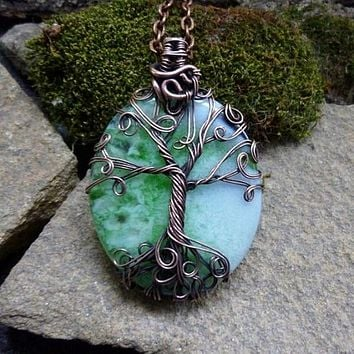 Blue-Green Agate Tree of Life Copper Wire-Wrap Pendant