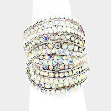 "1"" silver ab crystal swerve stretch ring bridal prom"
