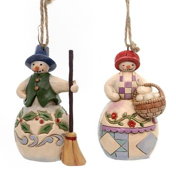Jim Shore Mr & Mrs Snowman Ornaments Resin Ornament