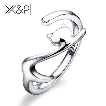 X&P Fashion Charm 100% 925 Sterling Silver Sticky Long Tail Cat Finger Rings for Women Girl Adjustable Engagement Ring Jewelry