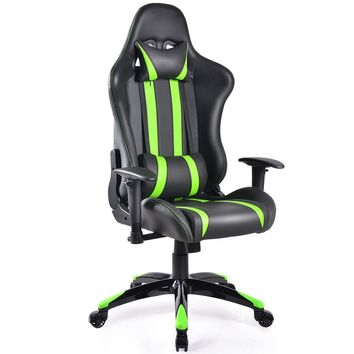 Hudlum Gaming High Back Reclining Gaming Chair, Green/Black