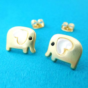 Baby Elephant Shaped Animal Stud Earring in Gold with Heart Shaped Ears