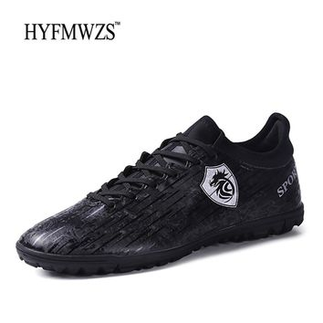 HYFMWZS Krasovki Original Soccer Shoes For Men Turf Lace Up Kids Football Boots Non-slip Breathable Zapatos De Futbol Hombre