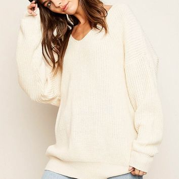 Knot Cross Back Sweater Top