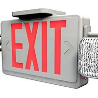 All LED Red Exit Sign & Emergency Light Combo with Battery Backup