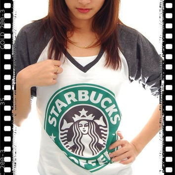 New STARBUCKS Logo Coffee Pop Punk Rock Vintage Women Top Long Sleeve Baseball T shirt S, M, L