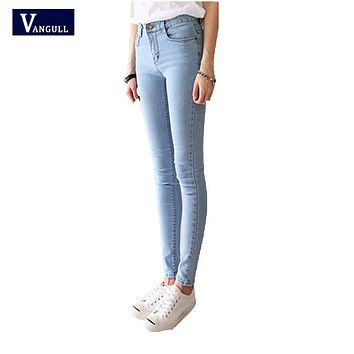 spring multiple sizes long straight jeans Small Stretch feet nine ankle-length pants Fashion wild was thin washed High waist