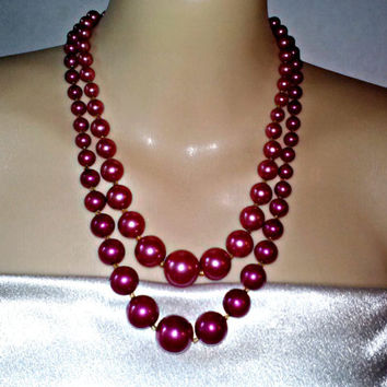 Vintage Bright Cranberry Red Double Strand Large Graduated Size Shiny Beads Necklace Mint Condition Estate Piece Fashion Jewelry Japan sign