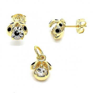 Gold Layered 10.09.0032 Earring and Pendant Children Set, Ladybug Design, with  Cubic Zirconia, Polished Finish, Golden Tone