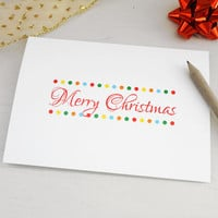 Merry Christmas card Xmas greeting card colorful dots script font