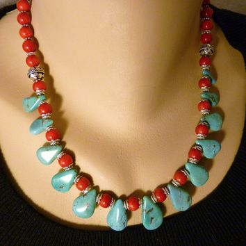Southwestern Turquoise Teardrop and Coral with Sterling Necklace