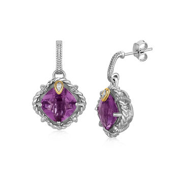 Talon-Set Amethyst Silver Earrings with Diamond + Gold Accents