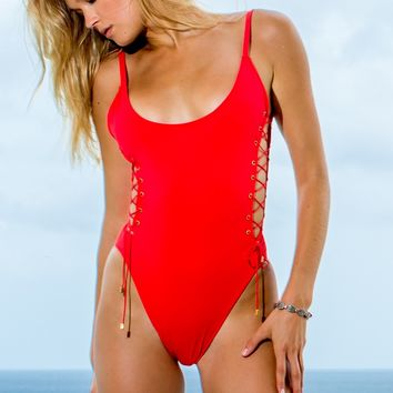 Sauvage Side Lace One Piece - Poppy