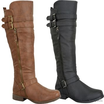 Womens Knee High Riding Boots G28D Black or Tan Buckle Faux Leather Shoes New
