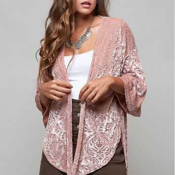 Women's Flocked Kimono with Bell Sleeves