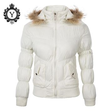 COUTUDI 2017 Western Fashion Women Winter Clothing Solid White Fur Cotton Coat Jackets Windbreaker Short Nylon Woman Parka Coats