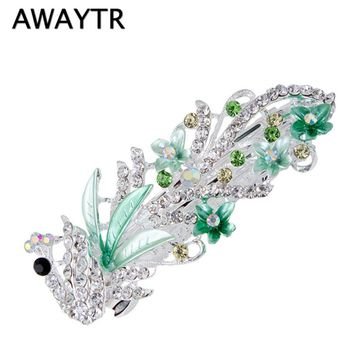 AWAYTR 5 Colors Trendy Peacock Barrettes Crystal Flower Hairpins Headwear For Hair Women Romantic Wedding Hair Accessories