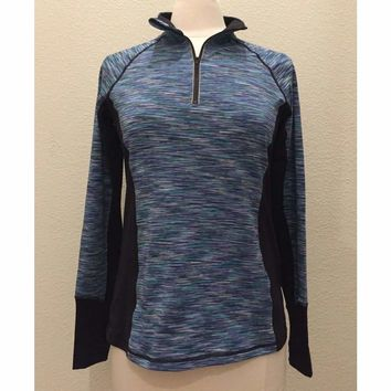 Ideology Women's Rapidry Space-Dyed 1/4 Zip Pullover Top 100004003 Teal Medium