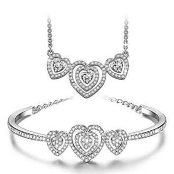 """J.NINA """"Loving Song"""" Made with Swarovski Crystals Silver Plated Heart Design Necklace with Matching Bracelet Jewelry Set"""
