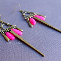 Ethnic Earrings - Bronze dangle - Pink drop beads earrings - Inca earrings -  ethnic Bohemian earrings - long earrings