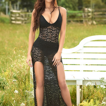 Lace V Neck Gown with Matching Panty
