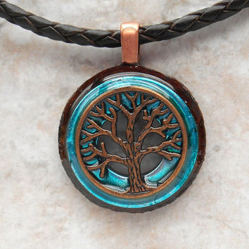 tree of life necklace: rust - mens jewelry - leather cord - boyfriend gift - celtic jewelry - men necklace - tree necklace - wiccan jewelry