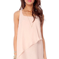 Tiered Tunic Dress in Peach :: tobi