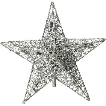Star Wire Wrapped Christmas Tree Topper Light, Silver, 9-Inch