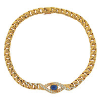 1980s Cartier Sapphire Diamond Yellow Gold Evil Eye Necklace