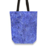 'Royal blue swirls doodles' Tote Bags by Savousepate on miPic