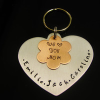MOTHERS DAY GIFT Key Fob Key Chain Hand Stamped Love you Mom Great Gift Idea for Mom Grandma Nana Aluminum and Copper