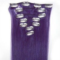 16 Inches 7 pcs Clips-on Human Hair Extensions Lila