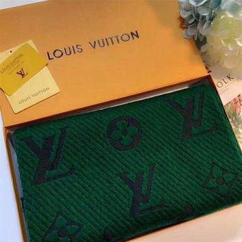ONETOW Luxury Louis Vuitton LV Keep Warm Scarf Soft Scarves Winter Wool Beautiful Shawl Monogram Flower - Green