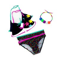 2016 New Summer Bathing Suit Girls split Two-pieces Swimwear, Children Cute Star Pattern Split Bikini Girls Swimsuit