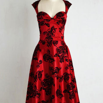 Pinup Long Sleeveless A-line Prove Your Groove Dress in Ruby Roses