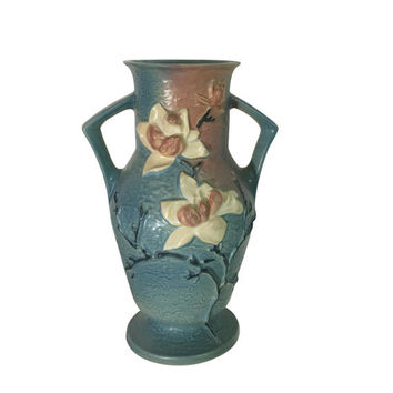 1940s Huge Magnolia Flower Roseville Pottery Vase 98-15, Vintage Home Decor