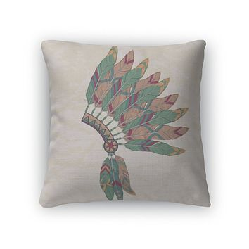 Throw Pillow, Of Native American Indian Chief Headdress