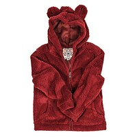 YOUTH Silky Pile Pullover Teddy Bear in Red by True Grit - FINAL SALE