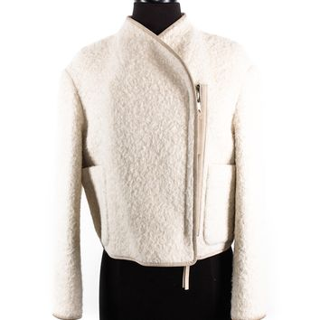 Burberry Prorsum Alpaca Blend Cropped Jacket in White