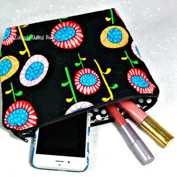 Handmade Quilted Cosmetic Bag with Waterproof Liner in Black and Brights