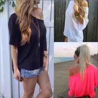 Pure Color Casual Loose Short Sleeves Sexy T-shirt