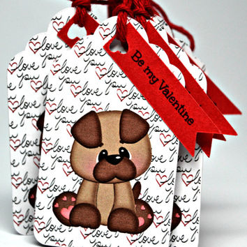 Valentine Tags / Puppy Love Valentine Set of 12