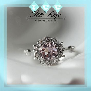 Round Pink Morganite Engagement Ring 6mm, .90ct Round Pink Morganite in Diamond Floral Halo Setting 14K White Gold