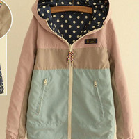 Polka Dot Side Zip Pocket Hooded Jacket - Blue