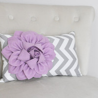 Lilac Purple / Grey Chevron Pillow